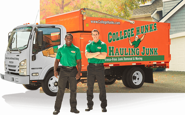 """""""College Hunks Hauling Junk and Moving"""" Truck & Staff"""